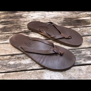 Rainbow Leather Sandals Single Layer Flip Flops
